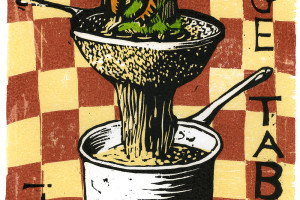 Woodcut illustration by David Esslemont from Chili: a recipe